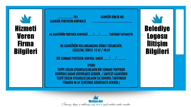 Asansör Etiketi mavi